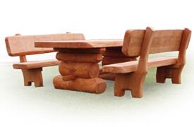 Meble drewniane - Komplet z bala