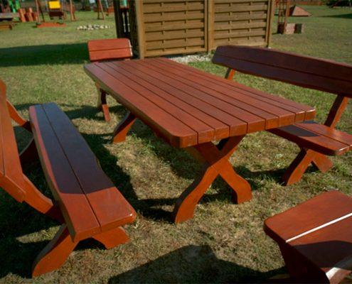 Meble ogrodowe - komplet mebli ogrodowych z olchy z obliną M3