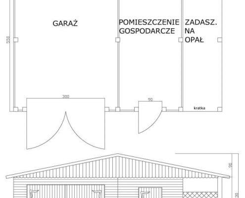 Garaż z pomieszczeniem gospodarczym i zadaszeniem na opał | symbol katalogowy D6